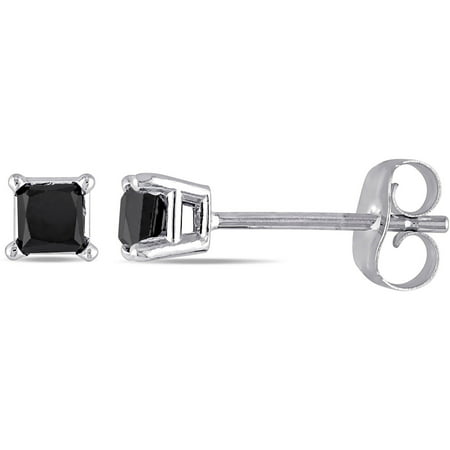 Miabella 10kt White Gold 1 Carat Princess Cut Black Diamond Solitaire Stud Earrings (4mm)