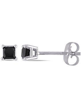 Asteria 10kt White Gold 1 Carat Princess Cut Black Diamond Solitaire Stud Earrings 4mm