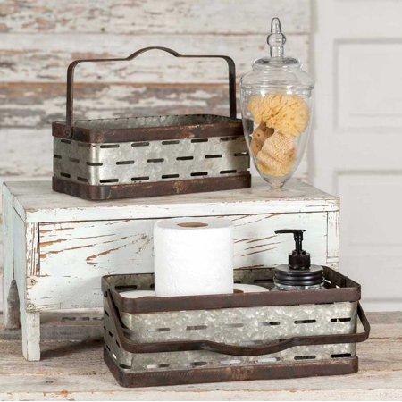 Rectangular Olive Bucket Set](Tin Buckets)