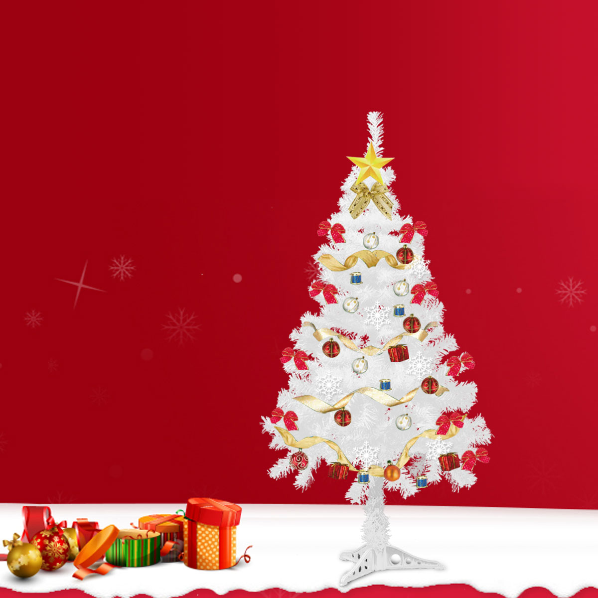 5Ft White Christmas Tree Artificial Unlit Premium Spruce Hinged Tree with Stand Holiday Festival Decor Indoor & Outdoor