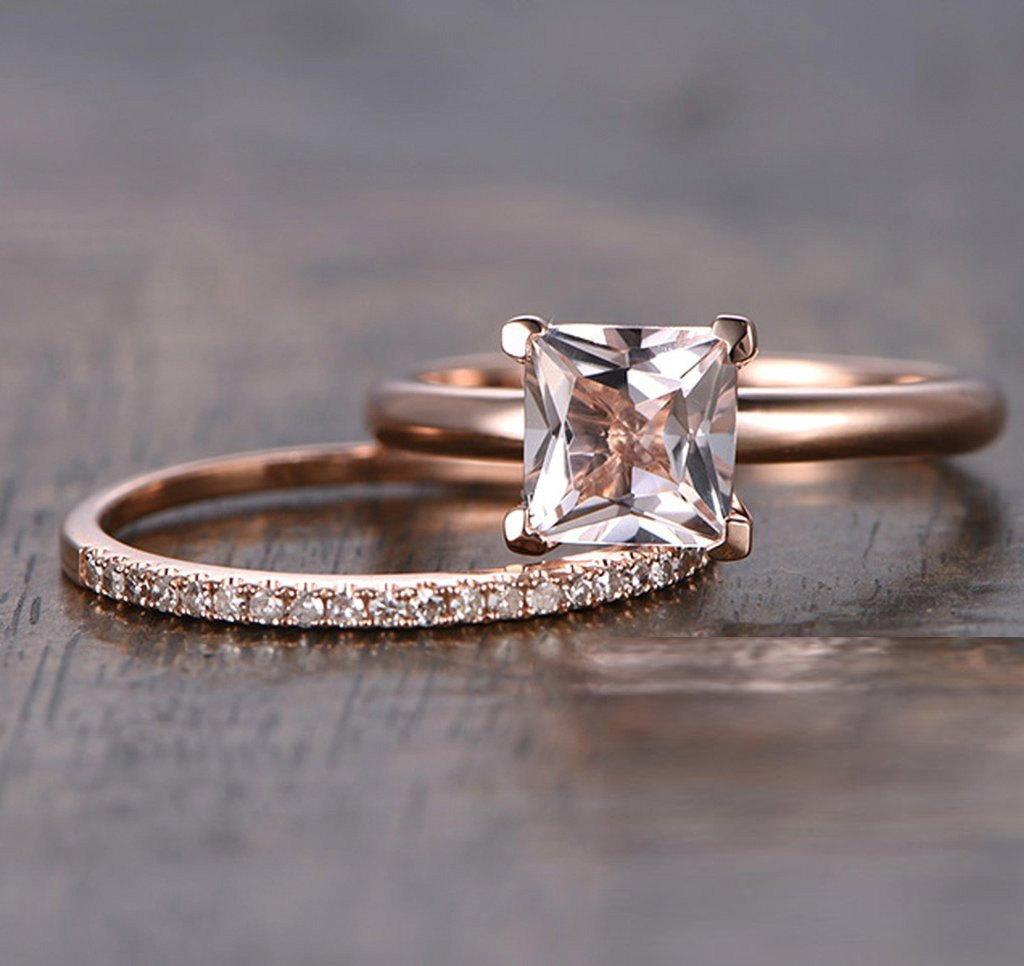 1.25 Carat Peach Pink Morganite (princess cut Morganite) and Diamond Engagement Bridal Wedding Ring Set in 10k Rose Gold