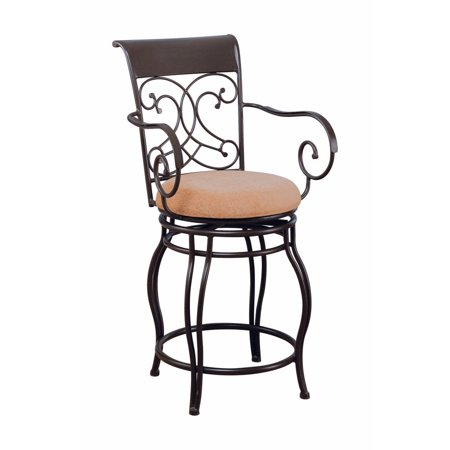 Traditional Scroll Counter Height Stool, Brown
