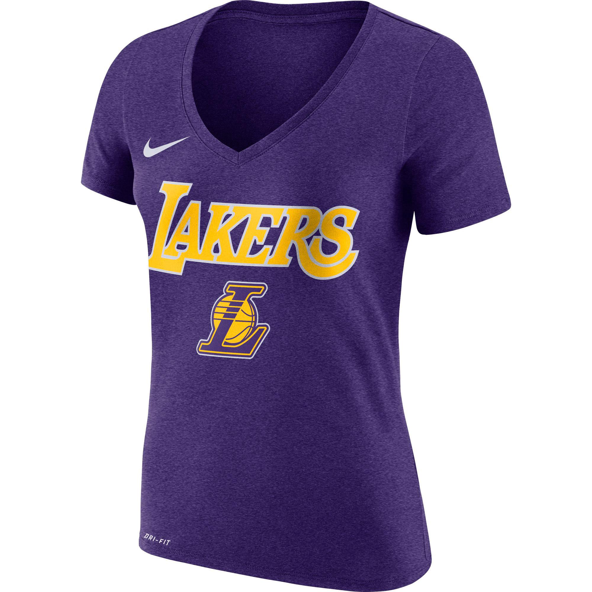 Los Angeles Lakers Nike Women's Wordmark V-Neck T-Shirt - Purple
