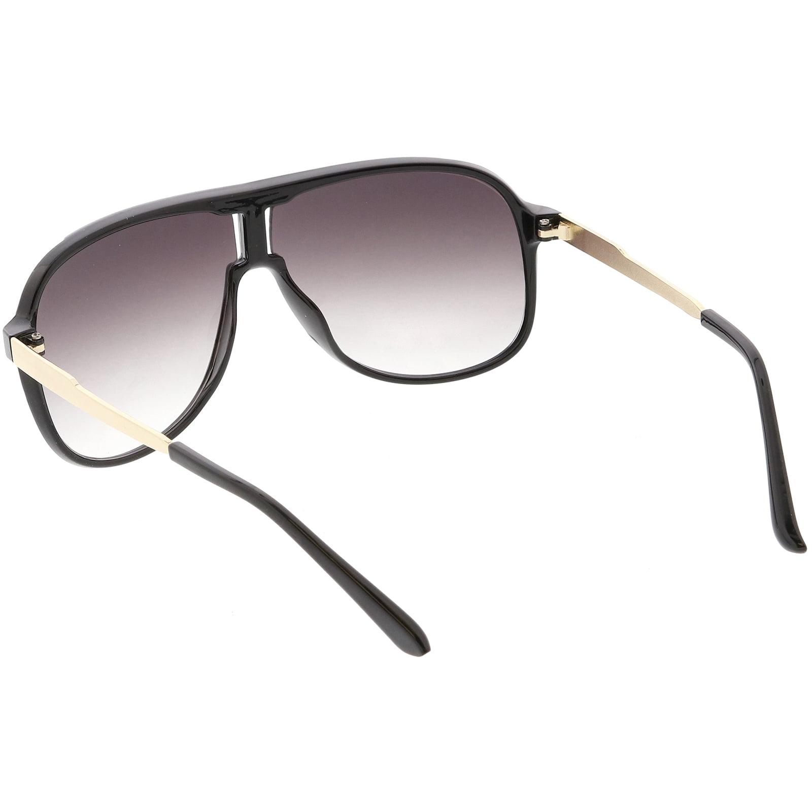 3ac0e693e9 sunglass.la - Men s Oversize Aviator Sunglasses Metal Arms Neutral Colored  Lens 60mm (Shiny Black Gold   Smoke) - Walmart.com