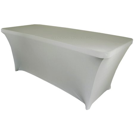 Wedding Linens Inc. Wholesale (200 GSM) 8 FT Rectangular Spandex Stretch Fitted Table Cover Tablecloths - Silver - Fitted Table Covers