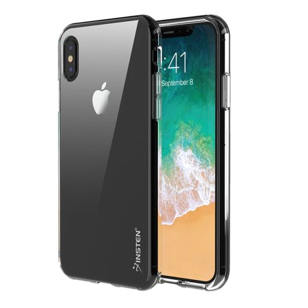 iPhone X Case Screen Protector Combo, by Insten Clear TPU Rubber Silicone Phone Skin Shockproof Case Cover for Apple iPhone X (Bundle with Anti Spy Privacy Tempered Glass Screen Protector) Cell Phone Spy Equipment