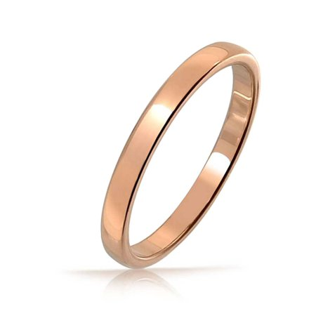 8aeb3c6b7 Bling Jewelry - Simple Thin Minimalist Dome Couples Wedding Band Shiny Rose  Gold Plated Tungsten Rings For Men For Women Comfort Fit 4mm - Walmart.com