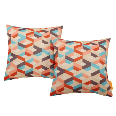 Modway Indoor/Outdoor Patio Pillow, Set of 2, Multiple Colors ()
