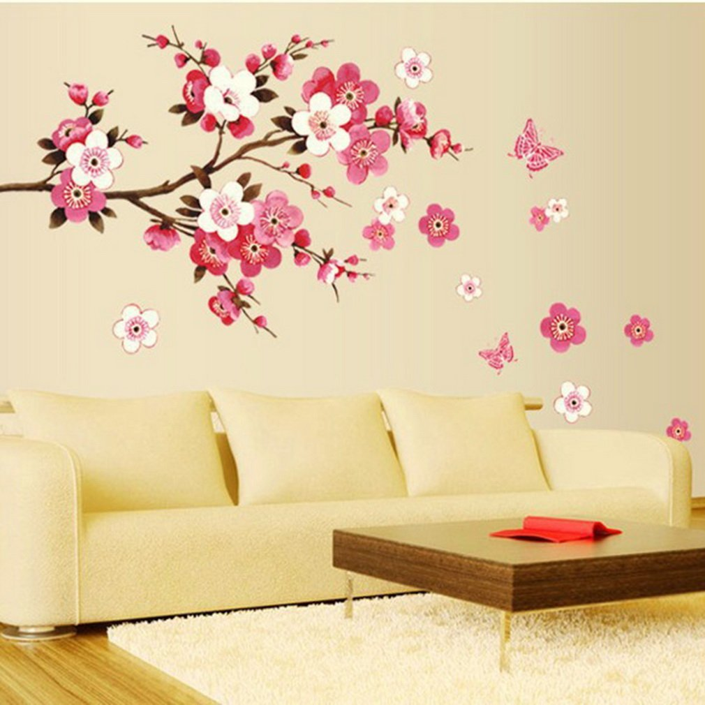 bathroom Flower Butterfly Wall Stickers decal Removable Peach Wall Sticker wallpaper quote poster decor bedroom decoration