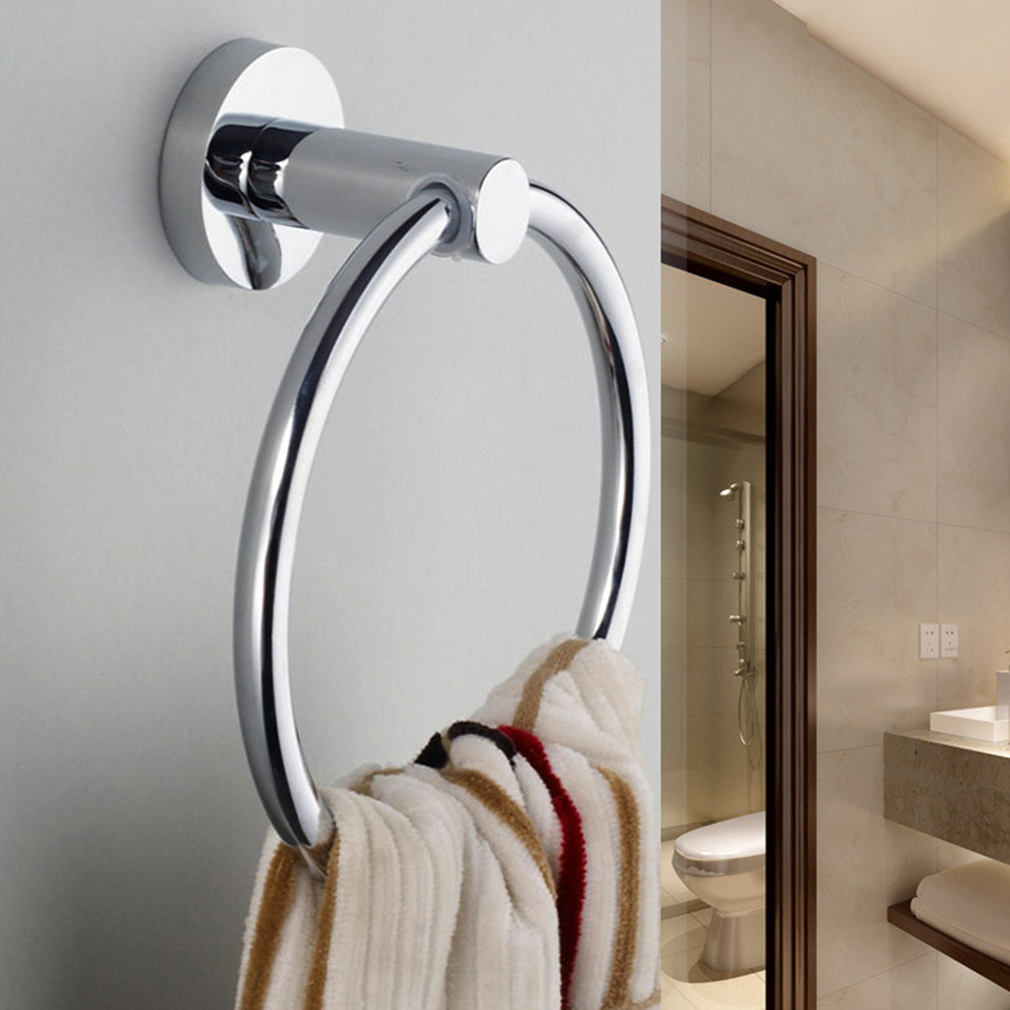 stainless steel round style wallmounted towel ring holder hanger bathroom