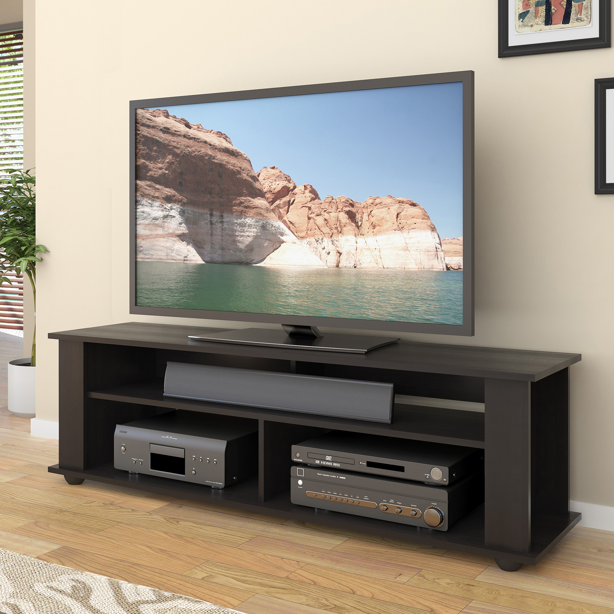 CorLiving Bakersfield Ravenwood Black TV Stand For TVs Up To 65 Black 65 Inch Tv Stand Y39