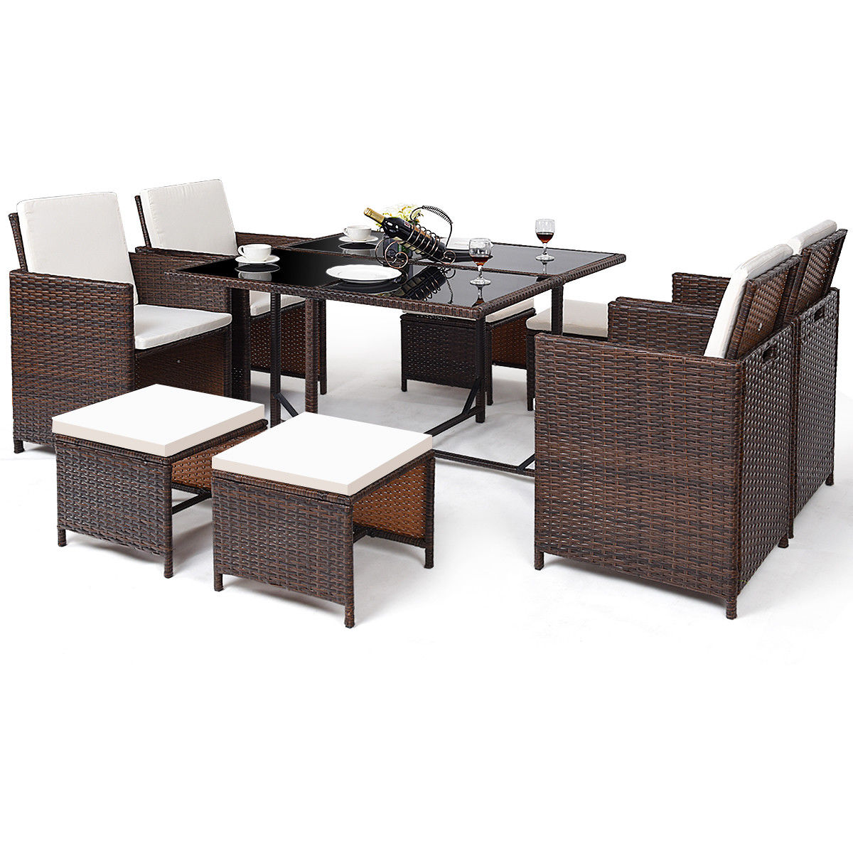 Costway 9 PCS Outdoor Patio Dining Room Set Rattan Wicker Furniture Garden Cushioned Cover by Costway