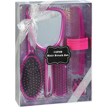 Hair Brush Gift Set Pink 14 Pc Walmart Com