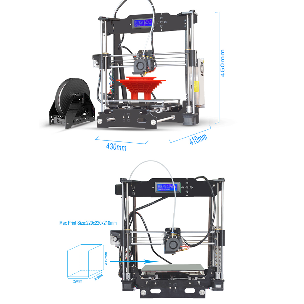 Professional High Precision DIY 3D Printer XYZ Printer Kits with LCD 2004A Display,P802E 3d Printing, Black