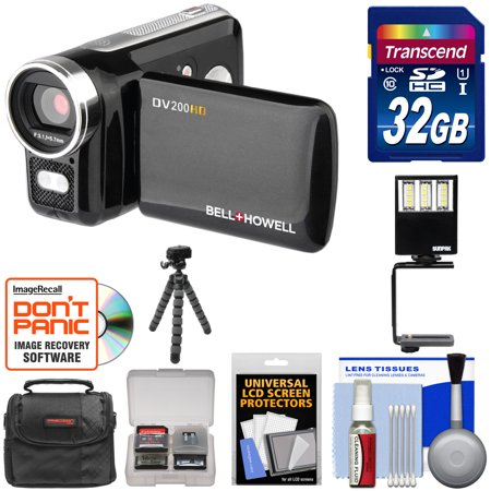 Bell & Howell DV200HD HD Video Camera Camcorder with Built-in Video Light 32GB Card + Video Light + Tripod + Case + Kit (1080 Hd Professional Video Camera)