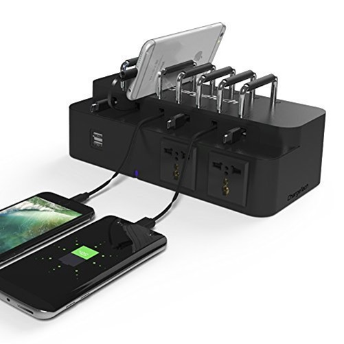 ChargeTech CS6 Universal 6-Port USB Laptop Phone Charging Station Dock (Black)