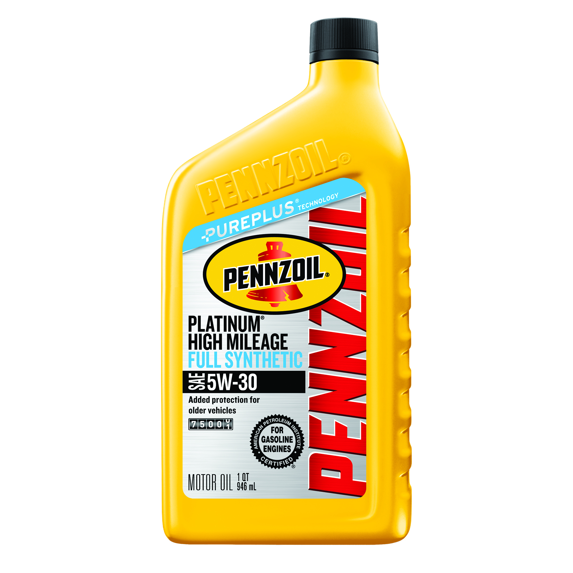 Pennzoil Platinum High Mileage 5W-30 Full Synthetic Motor Oil, 1 qt