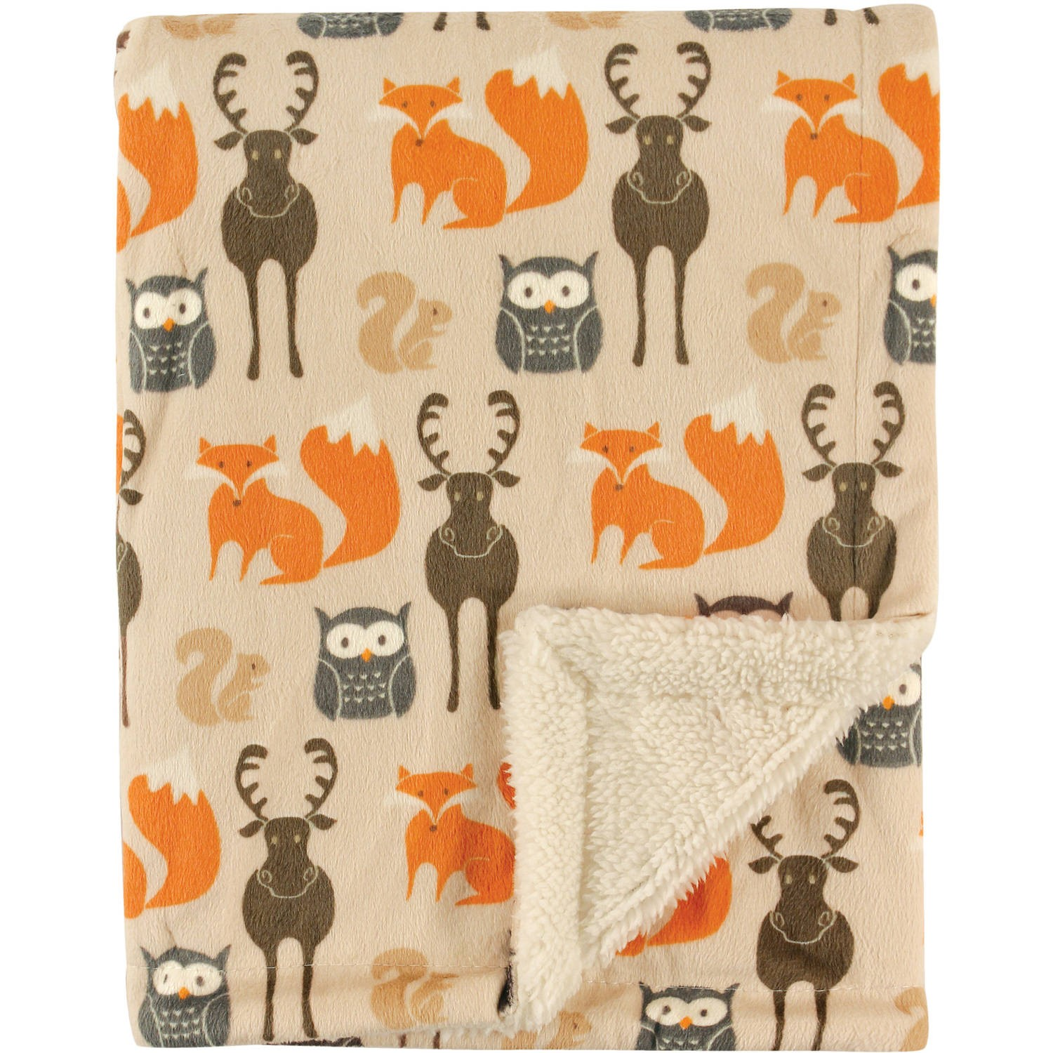 Hudson Baby Boy and Girl Mink Blanket with Sherpa Back - Forest