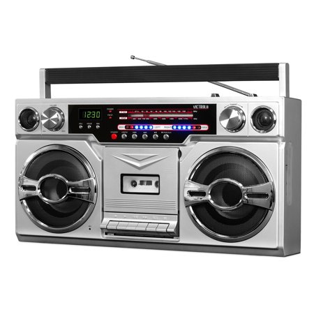 Victrola 1980's Bluetooth Boombox with Cassette Player and AM/FM (Best Boombox Cd Player)