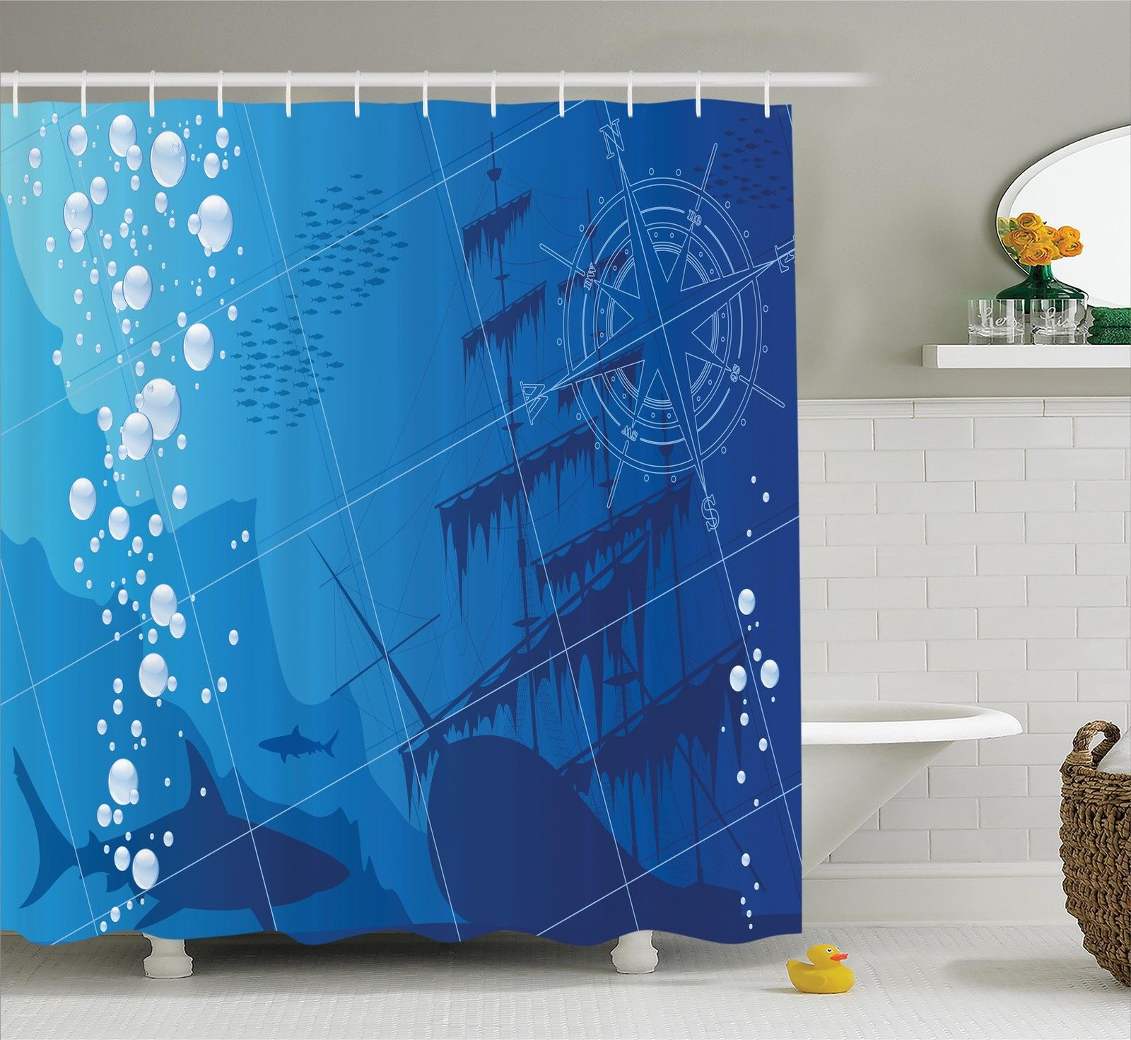 Blue Gold Ambesonne Nautical Decor Shower Curtain Traditional Oriental Style Ocean Waves Pattern with Foam and Splashes Print Fabric Bathroom Decor Set with Hooks 84 Inches Extra Long