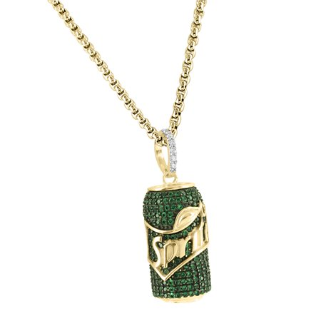 Sprite Can Syrup Drink Drank Pendant Gold Finish Green Lab Created Cubic Zirconias 925 Silver Chain (Lab Created Green)
