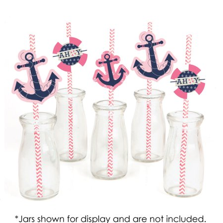 Girl Baby Shower Decor (Ahoy - Nautical Girl - Paper Straw Decor - Baby Shower or Birthday Party Striped Decorative Straws - Set of)