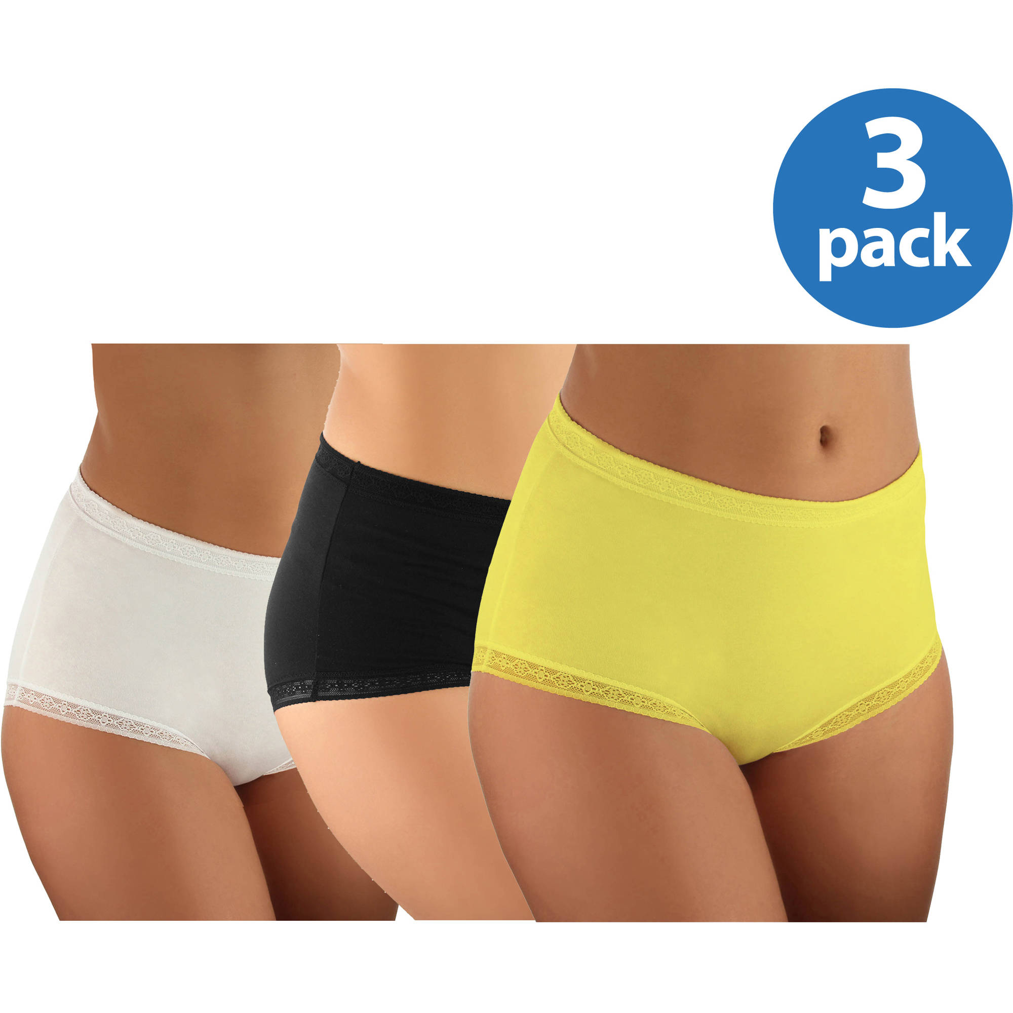 Women's Cotton w/Lace Brief, 3-Pack