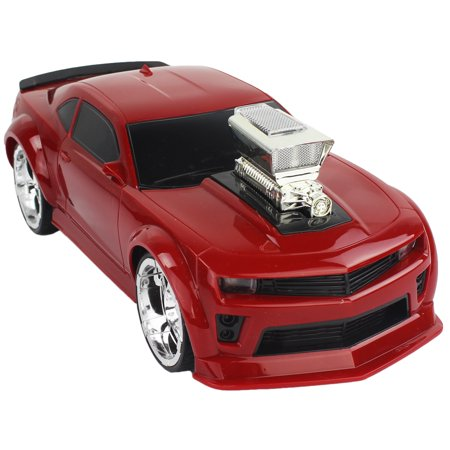 Toy Red 27MHZ 1/16 Scale Super Coupe Muscle Sport Car RC Remote Control Vehicle with Blacked Out Accents and Huge Wheels, Engine Sounds, LED Headlights and (Best Mid Engine Sports Cars)