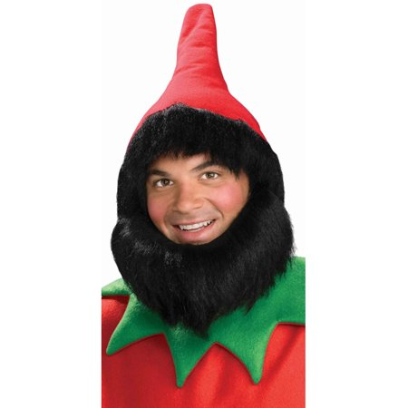 Adult Christmas Elf Red Costume Hat With Black Hair And Beard