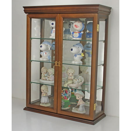 Walnut Display Cabinet (Solid Wood Tuscan Style Hardwood Wall Curio Cabinet, Stand or Wall Mount)