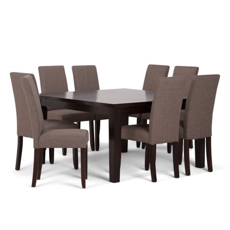 Brooklyn + Max Brunswick Contemporary 9 Pc Dining Set with 8 Upholstered Parson Chairs in Light Mocha Linen Look Fabric and 54 inch Wide Table ()