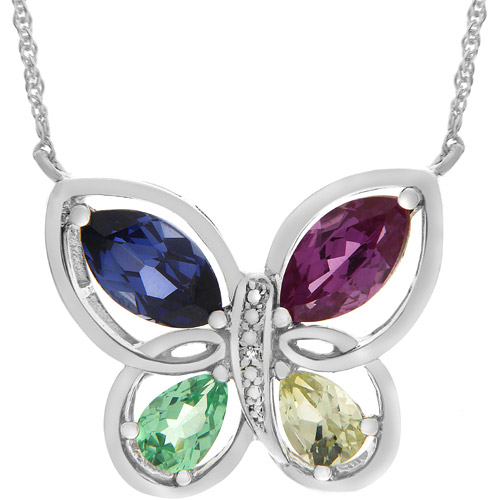 3.57 Carat T.G.W. Multi Lab-Created Sapphire and Diamond Accents in Sterling Silver Butterfly Pendant, 18""