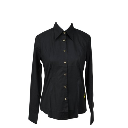Piero Guidi Womens Long Sleeve Button Down Shirt Black
