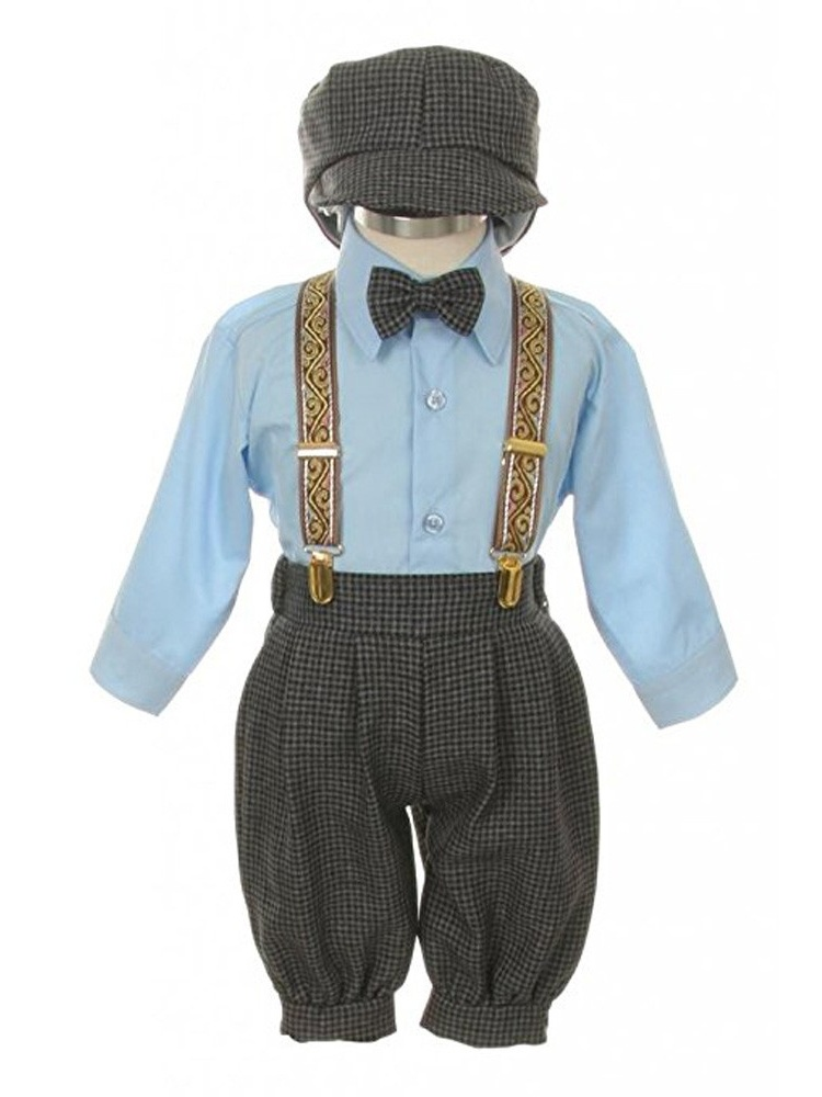 Rafael Little Boys Navy Overall Pants Knickers Vintage Outfit Tuxedo Set