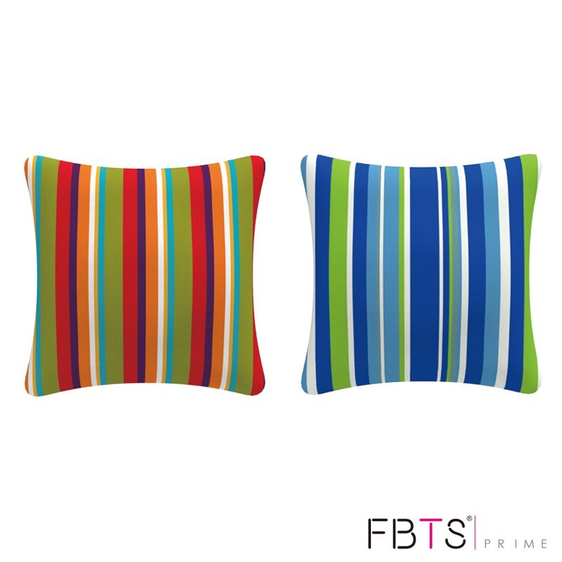 FBTS Prime Cushion Cover Pillow Sham (Blue Green & White, Stripe) with Insert Indoor Outdoor