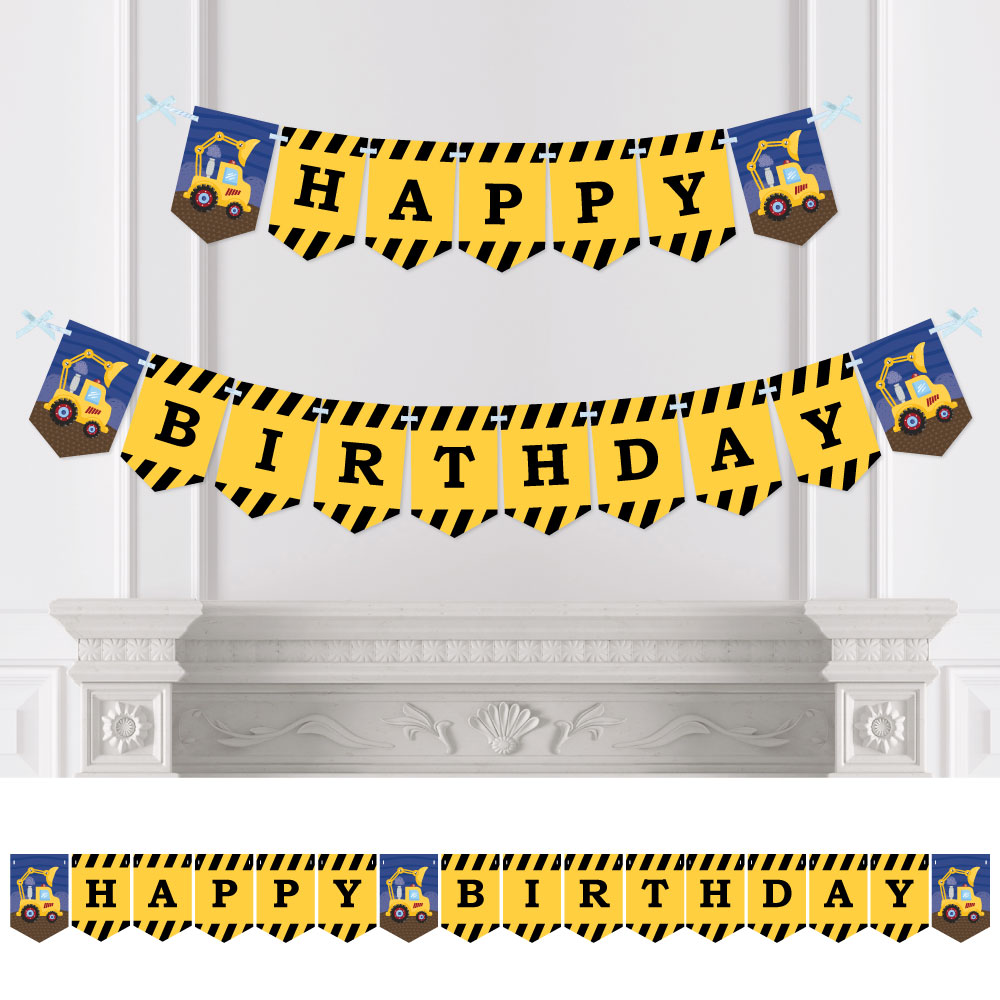 Construction Truck - Birthday Party Bunting Banner - Construction Party Decorations - Happy Birthday