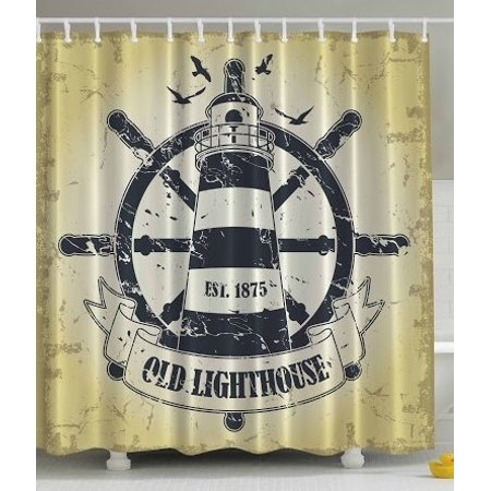 DEYOU 97 Old Lighthouse Shower Curtain Polyester Fabric Bathroom Size 66x72 Inches