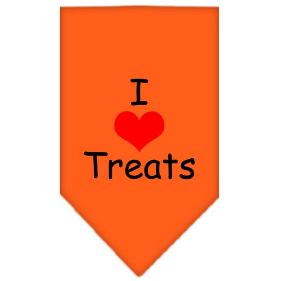 I Heart Treats  Screen Print Bandana Orange Small