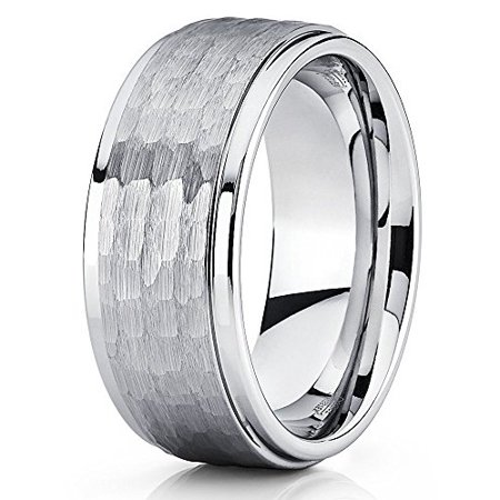 Silly Kings Hammered Tungsten Ring Silver Wedding Band Brushed Gray 9mm Carbide Men Women