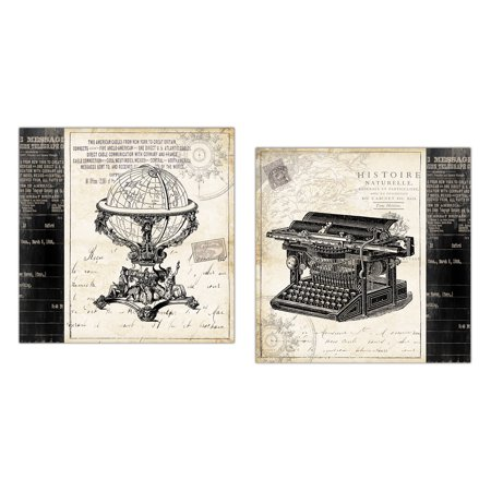 Classic old fashioned off white and black globe and typewriter print set by tre