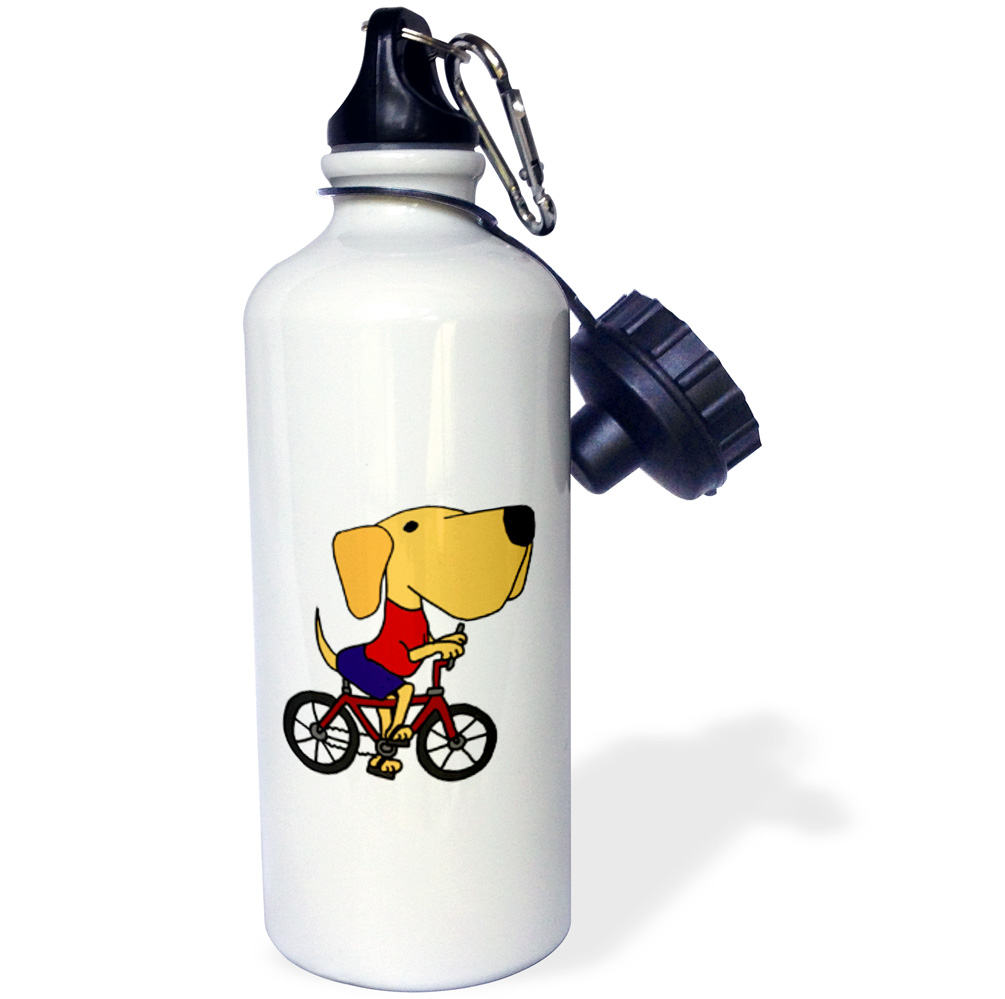 3dRose Funny Yellow Labrador Retriever Riding Bicycle, Sports Water Bottle, 21oz