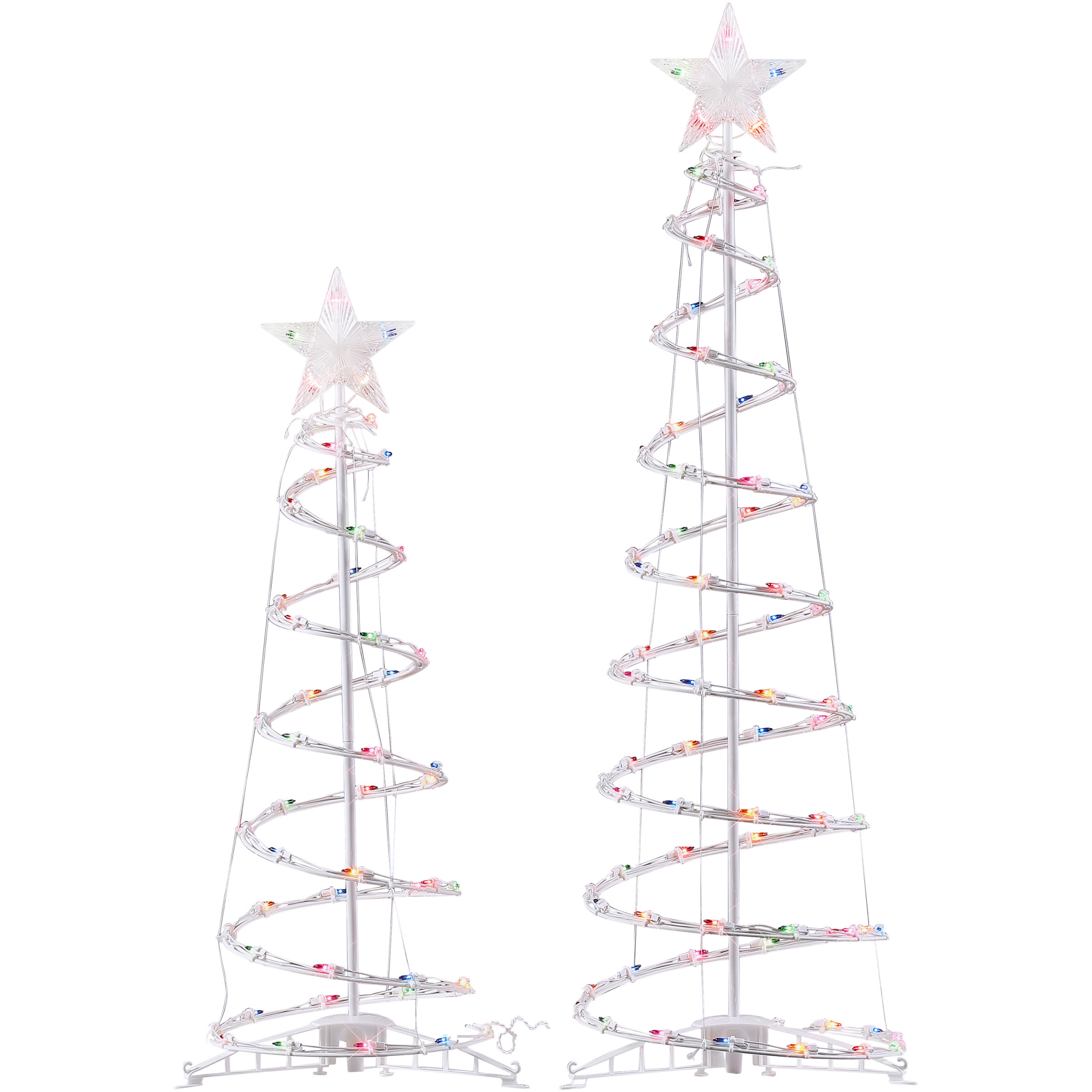 Holiday Time Light-Up Multicolor Spiral Trees, Set of 2, Indoor or Outdoor Use