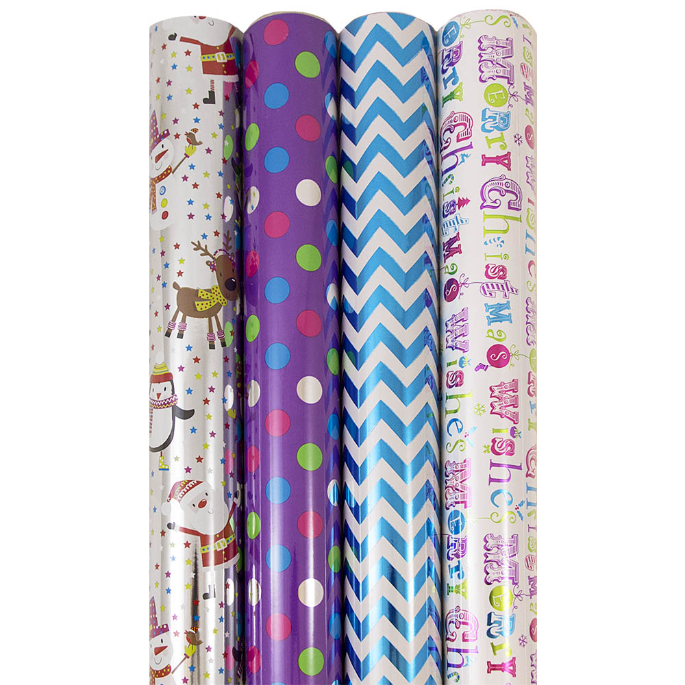 JAM Paper Christmas Design Wrapping Paper, Alternate Christmas, 180 Sq Ft., 4/pack