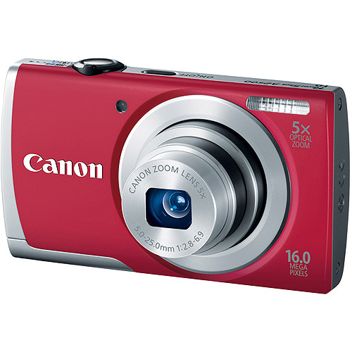 """Canon PowerShot A2500 16 Megapixel Compact Camera - Red - 2.7"""" LCD - 16:9 - 5x Optical Zoom - 4x - Digital (IS) - 4608 x 3456 Image - 1280 x 720 Video - PictBridge - HD Movie Mode"""