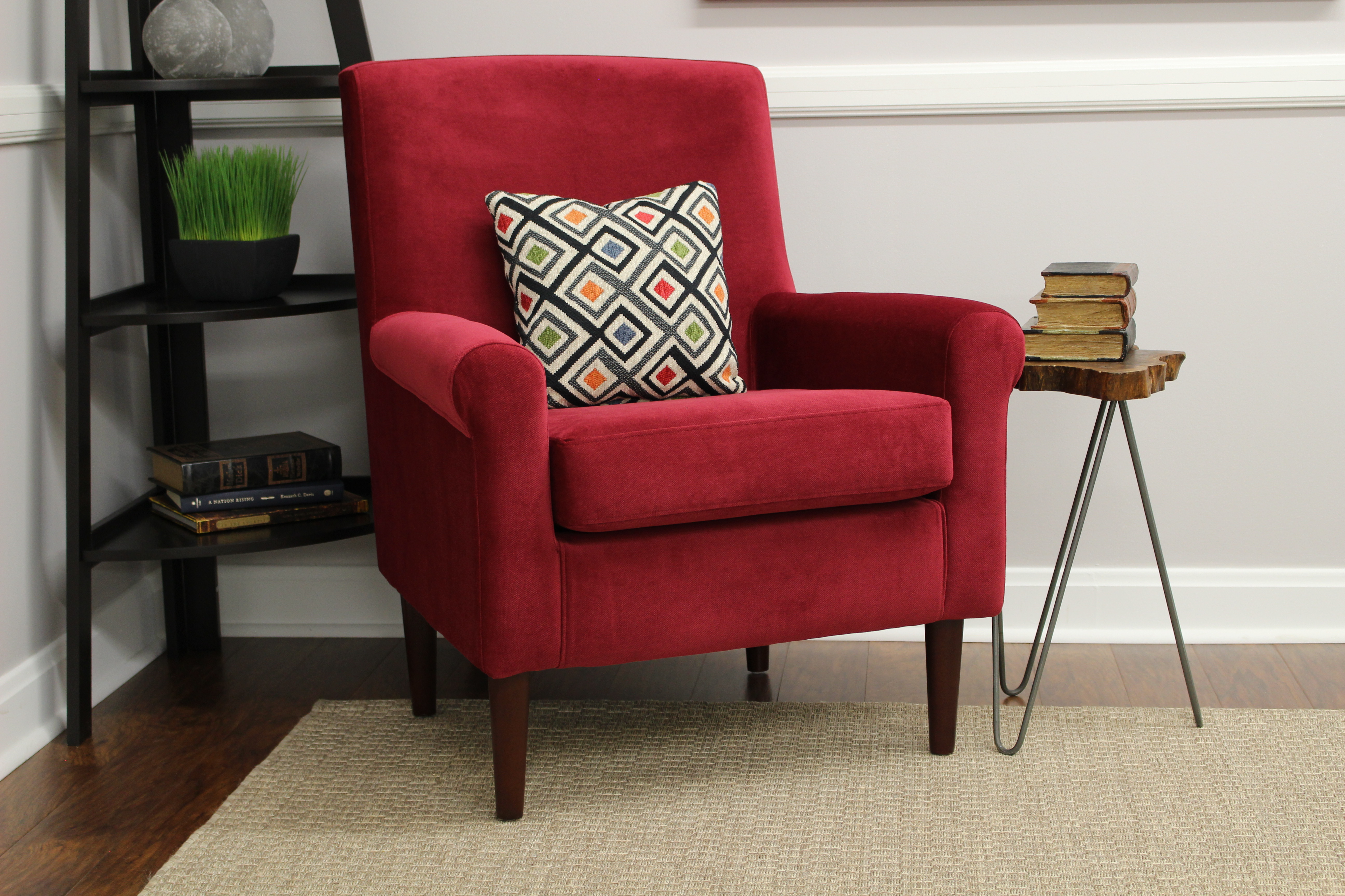 Ellis Rolled Arm Lounge Chair Red by Overman