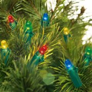 Holiday Time 20 Battery Operated LED Multicolor Mini Light Set Green Wire Christmas Decoration WLM8 70157-C