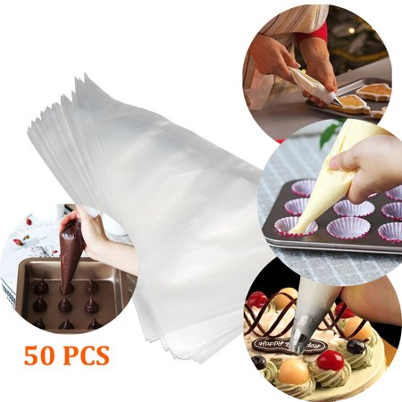 GLiving Pastry Bags 50 Pieces 16 Inch Disposable Piping Bags Cake Cupcake Decorating Supplies Decorating Bags for Frosting &
