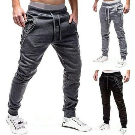 Mens Casual Harem Pant Baggy Sweatpants Sport Jogger Dancer Sportswear Slacks Black Grey (Mens Xxl Sweatpants)