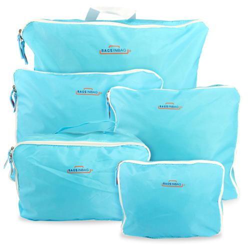 Portable Travel Luggage Packing Cubes Clothes Storage Bags Tidy Organizer Pouch Suitcase Handbag Case Set - Blue