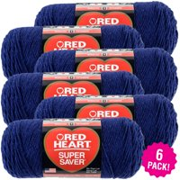 Red Heart Super Saver Yarn - Soft Navy, Multipack of 6